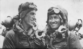 The first men to the top : Tenzing Norgay and Edmund Hillary.